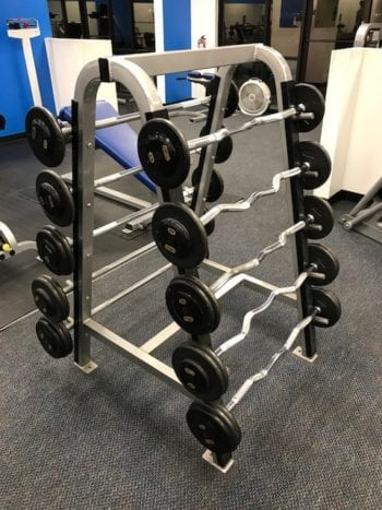 barbells on rack at albuquerque gym