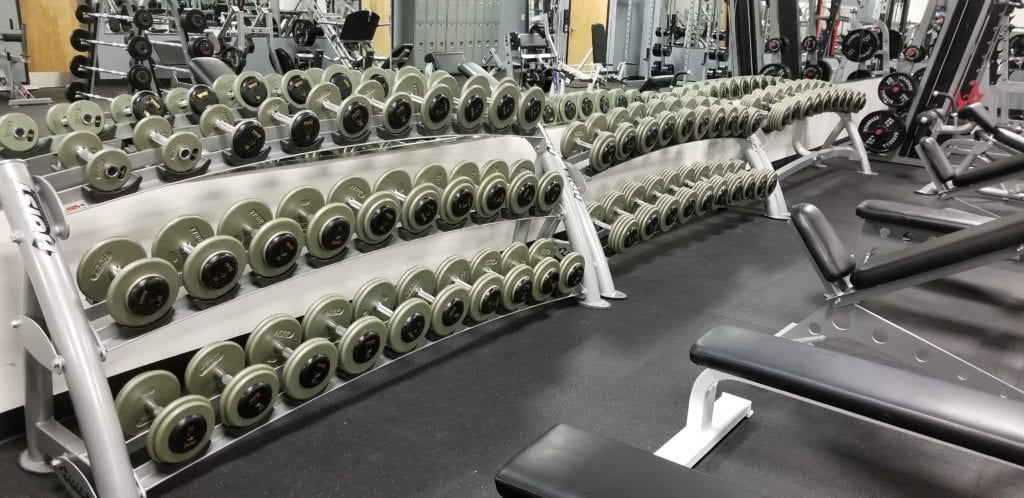 free weights in strength training area of ventana powerflex gym
